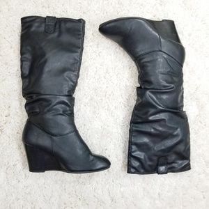 Rampage Swift Pull On Slouch Wedge Knee High Boots